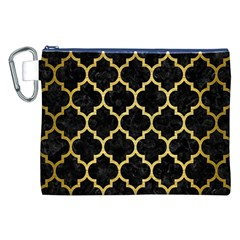 Tile1 Black Marble & Gold Brushed Metal Canvas Cosmetic Bag (xxl) by trendistuff