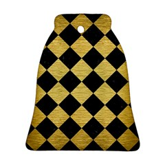 Square2 Black Marble & Gold Brushed Metal Ornament (bell) by trendistuff