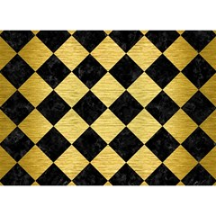 Square2 Black Marble & Gold Brushed Metal Birthday Cake 3d Greeting Card (7x5) by trendistuff