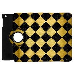 Square2 Black Marble & Gold Brushed Metal Apple Ipad Mini Flip 360 Case by trendistuff