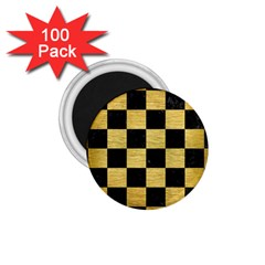 Square1 Black Marble & Gold Brushed Metal 1 75  Magnet (100 Pack)  by trendistuff