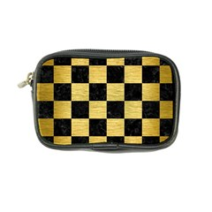 Square1 Black Marble & Gold Brushed Metal Coin Purse by trendistuff