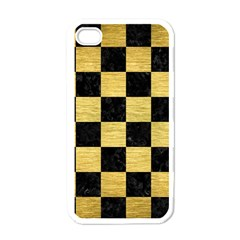 Square1 Black Marble & Gold Brushed Metal Apple Iphone 4 Case (white) by trendistuff