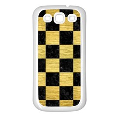 Square1 Black Marble & Gold Brushed Metal Samsung Galaxy S3 Back Case (white) by trendistuff
