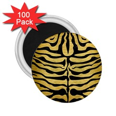 Skin2 Black Marble & Gold Brushed Metal (r) 2 25  Magnet (100 Pack)  by trendistuff
