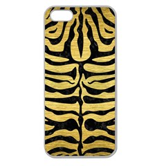 Skin2 Black Marble & Gold Brushed Metal (r) Apple Seamless Iphone 5 Case (clear) by trendistuff