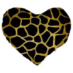 Skin1 Black Marble & Gold Brushed Metal (r) Large 19  Premium Flano Heart Shape Cushion by trendistuff