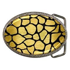 Skin1 Black Marble & Gold Brushed Metal Belt Buckle by trendistuff