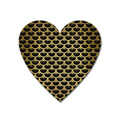 SCA3 BK MARBLE GOLD Heart Magnet by trendistuff