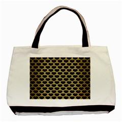Scales3 Black Marble & Gold Brushed Metal Basic Tote Bag by trendistuff