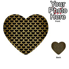 Scales3 Black Marble & Gold Brushed Metal Multi Purpose Cards (heart) by trendistuff