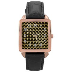 Scales3 Black Marble & Gold Brushed Metal Rose Gold Leather Watch  by trendistuff