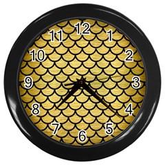 Scales1 Black Marble & Gold Brushed Metal (r) Wall Clock (black) by trendistuff