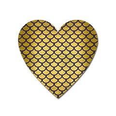 Scales1 Black Marble & Gold Brushed Metal (r) Magnet (heart) by trendistuff