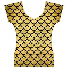SCA1 BK MARBLE GOLD (R) Women s V-Neck Cap Sleeve Top by trendistuff