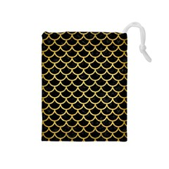 Scales1 Black Marble & Gold Brushed Metal Drawstring Pouch (medium) by trendistuff