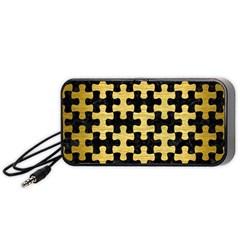 Puzzle1 Black Marble & Gold Brushed Metal Portable Speaker (black) by trendistuff