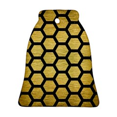 Hexagon2 Black Marble & Gold Brushed Metal (r) Bell Ornament (two Sides) by trendistuff