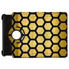 Hexagon2 Black Marble & Gold Brushed Metal (r) Kindle Fire Hd Flip 360 Case by trendistuff