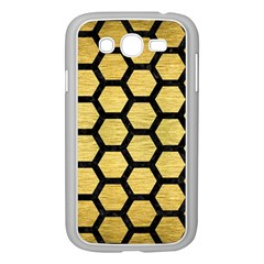 Hexagon2 Black Marble & Gold Brushed Metal (r) Samsung Galaxy Grand Duos I9082 Case (white) by trendistuff