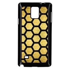 Hexagon2 Black Marble & Gold Brushed Metal (r) Samsung Galaxy Note 4 Case (black) by trendistuff