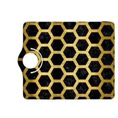 Hexagon2 Black Marble & Gold Brushed Metal Kindle Fire Hdx 8 9  Flip 360 Case by trendistuff