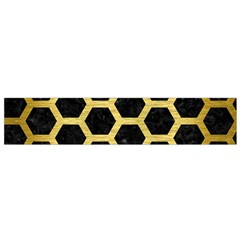 HXG2 BK MARBLE GOLD Flano Scarf (Small) by trendistuff