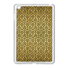 Hexagon1 Black Marble & Gold Brushed Metal (r) Apple Ipad Mini Case (white) by trendistuff