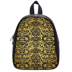 Damask2 Black Marble & Gold Brushed Metal (r) School Bag (small) by trendistuff