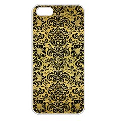 Damask2 Black Marble & Gold Brushed Metal (r) Apple Iphone 5 Seamless Case (white) by trendistuff