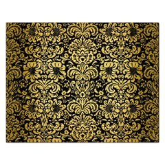 Damask2 Black Marble & Gold Brushed Metal Jigsaw Puzzle (rectangular) by trendistuff