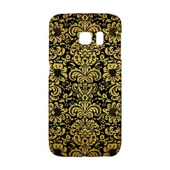 Damask2 Black Marble & Gold Brushed Metal Samsung Galaxy S6 Edge Hardshell Case by trendistuff