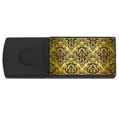 Damask1 Black Marble & Gold Brushed Metal (r) Usb Flash Drive Rectangular (4 Gb) by trendistuff