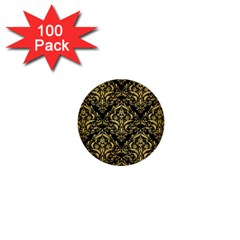 Damask1 Black Marble & Gold Brushed Metal 1  Mini Button (100 Pack)  by trendistuff