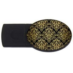 Damask1 Black Marble & Gold Brushed Metal Usb Flash Drive Oval (4 Gb) by trendistuff