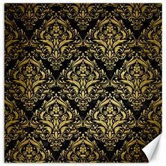 Damask1 Black Marble & Gold Brushed Metal Canvas 16  X 16  by trendistuff