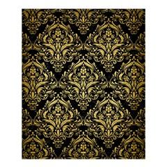 Damask1 Black Marble & Gold Brushed Metal Shower Curtain 60  X 72  (medium) by trendistuff