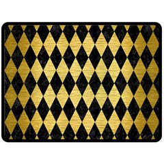 Diamond1 Black Marble & Gold Brushed Metal Double Sided Fleece Blanket (large) by trendistuff