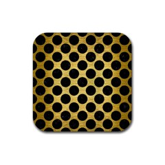 Circles2 Black Marble & Gold Brushed Metal (r) Rubber Coaster (square) by trendistuff
