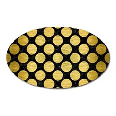 Circles2 Black Marble & Gold Brushed Metal Magnet (oval) by trendistuff