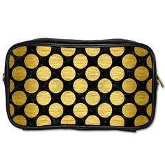 Circles2 Black Marble & Gold Brushed Metal Toiletries Bag (one Side) by trendistuff