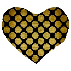 Circles2 Black Marble & Gold Brushed Metal Large 19  Premium Flano Heart Shape Cushion by trendistuff