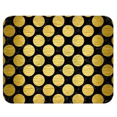 Circles2 Black Marble & Gold Brushed Metal Double Sided Flano Blanket (medium) by trendistuff