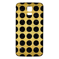 Circles1 Black Marble & Gold Brushed Metal (r) Samsung Galaxy S5 Back Case (white) by trendistuff