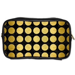 Circles1 Black Marble & Gold Brushed Metal Toiletries Bag (one Side) by trendistuff