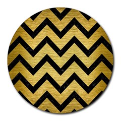 Chevron9 Black Marble & Gold Brushed Metal (r) Round Mousepad by trendistuff