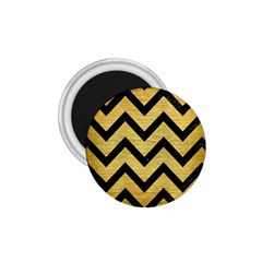 Chevron9 Black Marble & Gold Brushed Metal (r) 1 75  Magnet by trendistuff