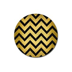 Chevron9 Black Marble & Gold Brushed Metal (r) Magnet 3  (round) by trendistuff