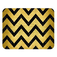 Chevron9 Black Marble & Gold Brushed Metal (r) Double Sided Flano Blanket (large) by trendistuff