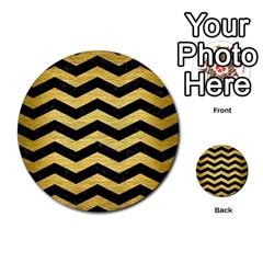 Chevron3 Black Marble & Gold Brushed Metal Multi Purpose Cards (round) by trendistuff